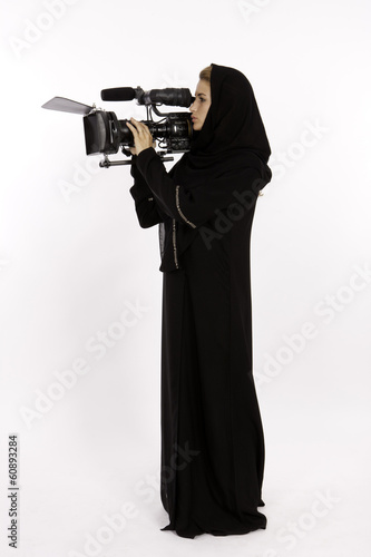 An Arab Woman Using A Cinema Camera