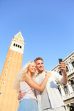 Couple taking selfie picture on travel in Venice poster