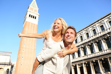 Romantic couple in love having fun in Venice
