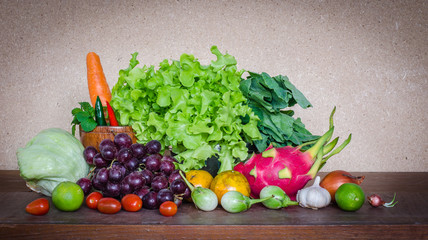 Many fresh fruits and vegetables on table