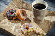 Lunch with coffee and donuts