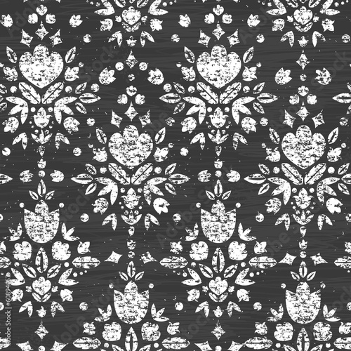 Vector chalk textured floral damask seamless pattern background