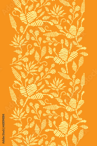 Vector golden floral embroidery vertical border seamless pattern