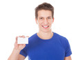 Young Healthy Athletic Man Holding Blank Visiting Card