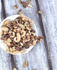 Mixed nuts - hazelnuts, walnuts, almonds, cashews, brazil nuts a