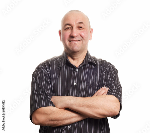 Middle aged smiling tatar man isolated on white background