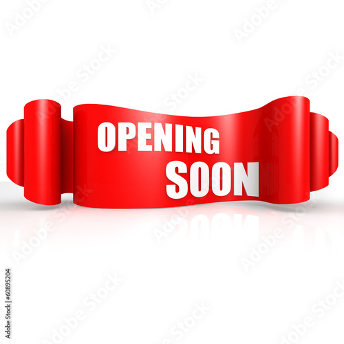 Opening soon red wave ribbon