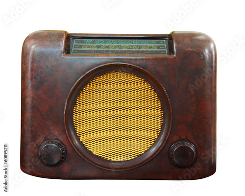 Old radio isolated, clipping path