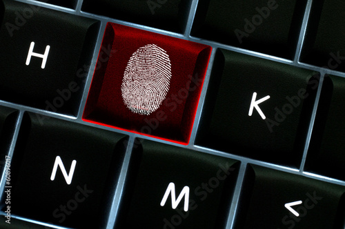 Onliine crime scene concept with the fingerprint left on a backl