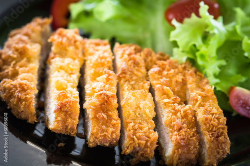Deep fried breaded pork rice with salad