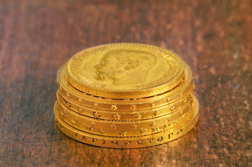 Golden coins stack