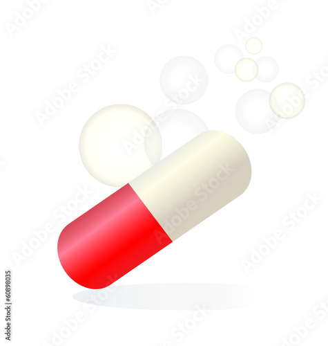 Red pill relief medical logo vector