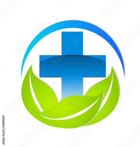 Medical sign natural or alternative medicine vector logo