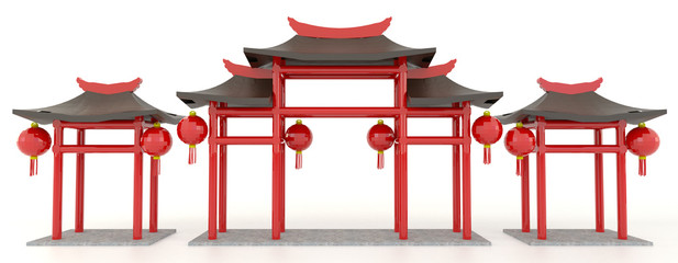 Simple 3D Chinese pavilion gate