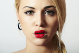 Beautiful Blond Woman with Heart Kiss on the Lips.Red Sexy