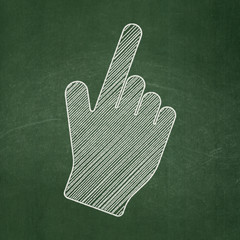 Advertising concept: Mouse Cursor on chalkboard background