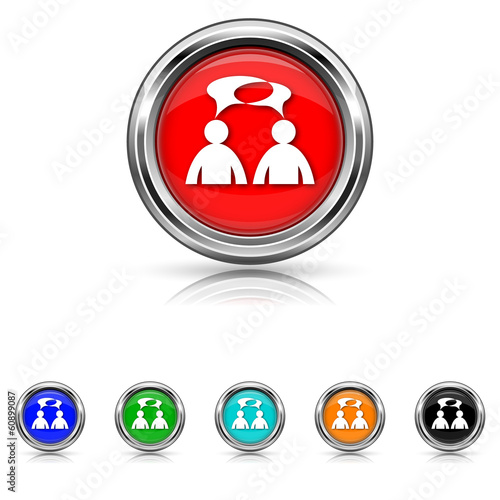 Comments icon - six colours set - men with bubbles