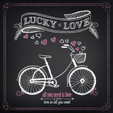 Vintage illustration of Valentine's Day. Bike, ribbon, lucky