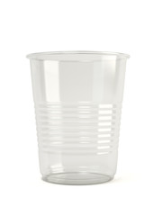 Empty disposable translucent plastic cup isolated