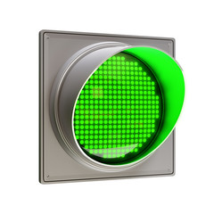 Green traffic light isolated on white