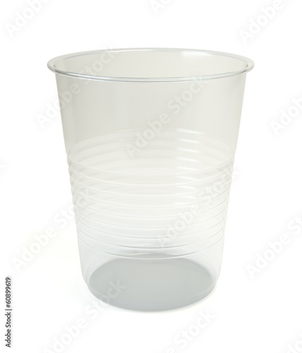 Transparent disposable plastic cup isolated on white