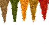 Different spices on a white background