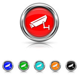 Surveillance camera icon - six colours set