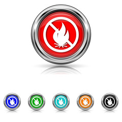 Fire forbidden icon - six colours set