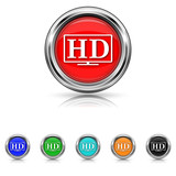 HD TV icon - six colours set