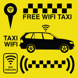 Set signs for taxi with wireless network on yellow background