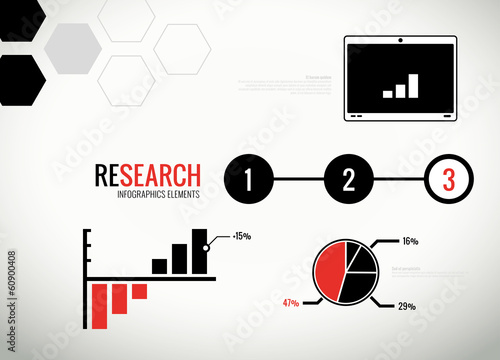 Vector research statistics and infographics elements