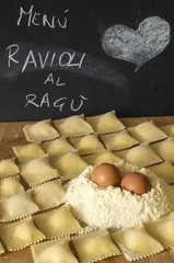 homemade ravioli and menu blackboard
