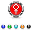 Female sign icon - six colours set