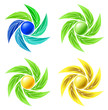 Set of leaves and spheres as logos for businesses.