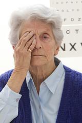 Senior woman  taking an eyesight  exam