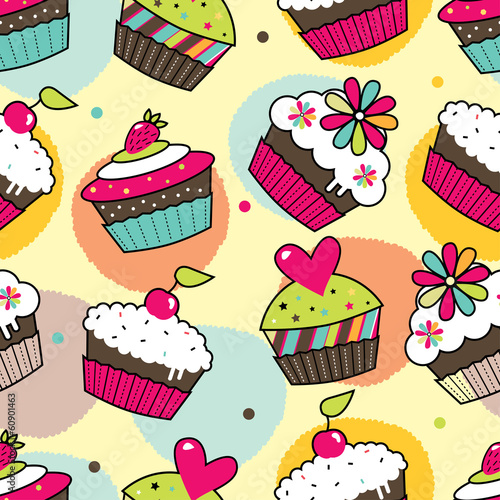 Cupcake. Seamless vector pattrn.