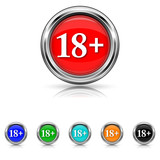 18 plus icon - six colours set