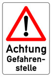 combination sign for danger zone - german gefahrenstelle g476