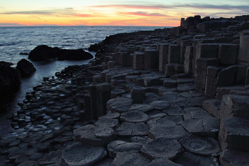 Giant's Causeway in Northern Ireland at sunset