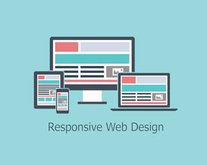 Responsive web design development vector flat style