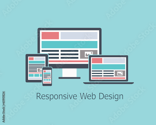 Responsive web design development vector flat style