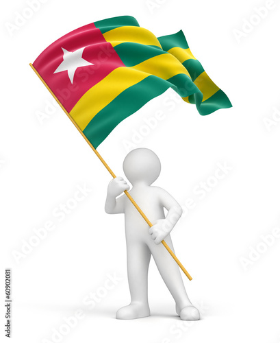 Man and Togolese flag (clipping path included)