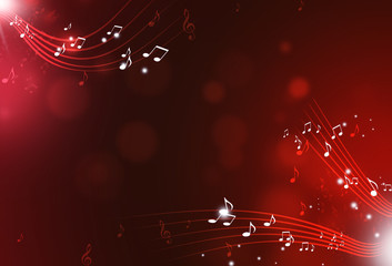 Music Notes Red Background