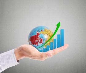 Graph in hand, businessmen
