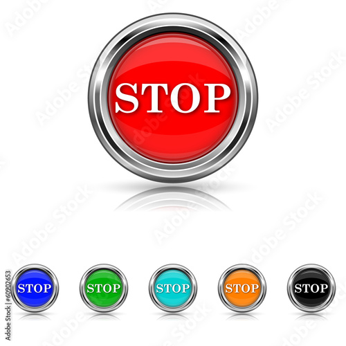Stop icon - six colours set