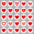 Red Hearts Grey Background