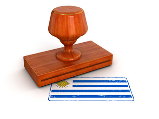 Rubber Stamp Uruguayan flag (clipping path included)