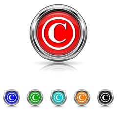 Copyright icon - six colours set