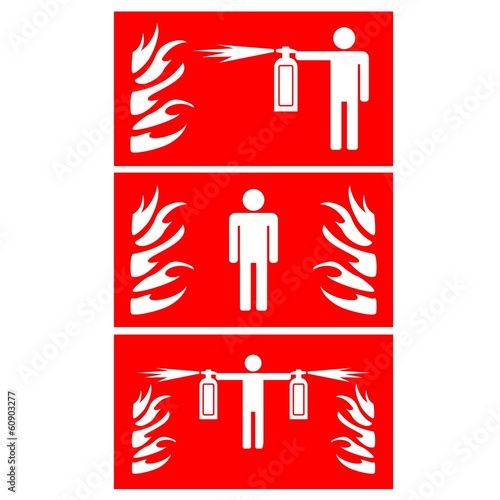 Firefighting with Extinguisher - Red warning sign - vector