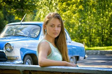 girl posing on urban background scenery
